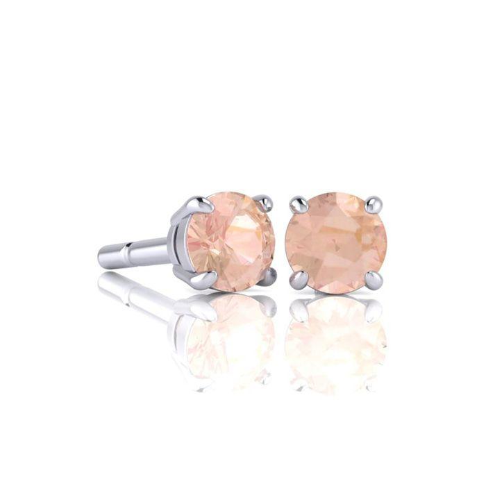 Image of 1/2 Carat Round Shape Morganite Stud Earrings In Sterling Silver