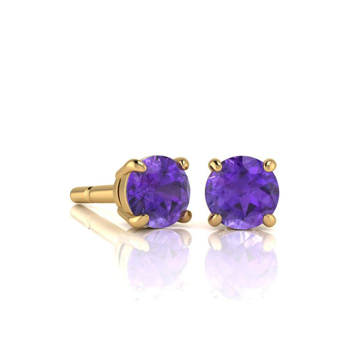 Image of 1/2 Carat Round Shape Amethyst Stud Earrings In 14K Yellow Gold Over Sterling Silver