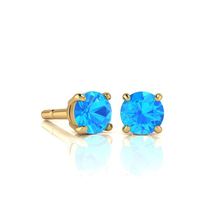 Image of 1 Carat Round Shape Blue Topaz Stud Earrings In 14K Yellow Gold Over Sterling Silver