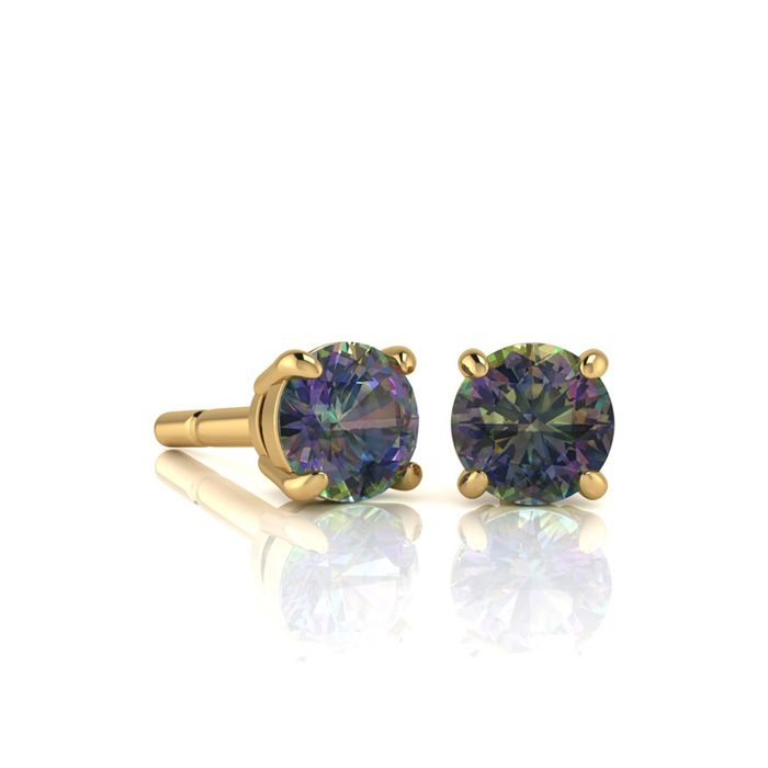 Image of 1 Carat Round Shape Mystic Topaz Stud Earrings In 14K Yellow Gold Over Sterling Silver