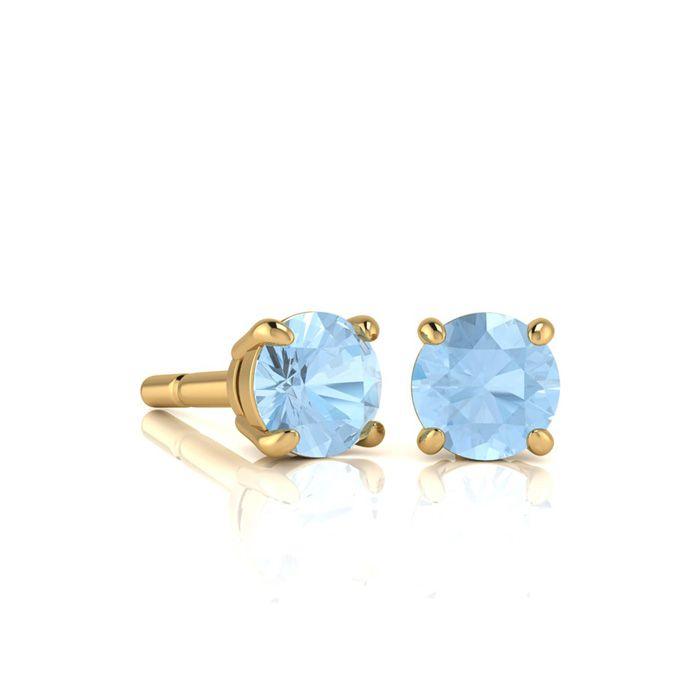 1/2 Carat Round Shape Aquamarine Stud Earrings