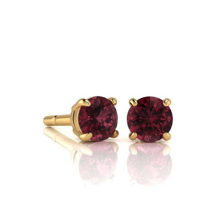 Image of 3/4 Carat Round Shape Garnet Stud Earrings In 14K Yellow Gold Over Sterling Silver