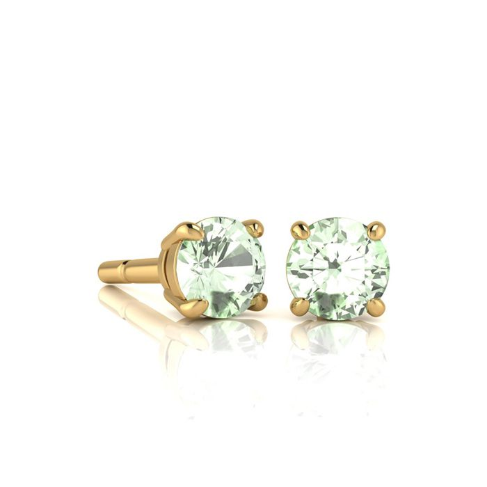 Image of 1/2 Carat Round Shape Green Amethyst Stud Earrings In 14K Yellow Gold Over Sterling Silver