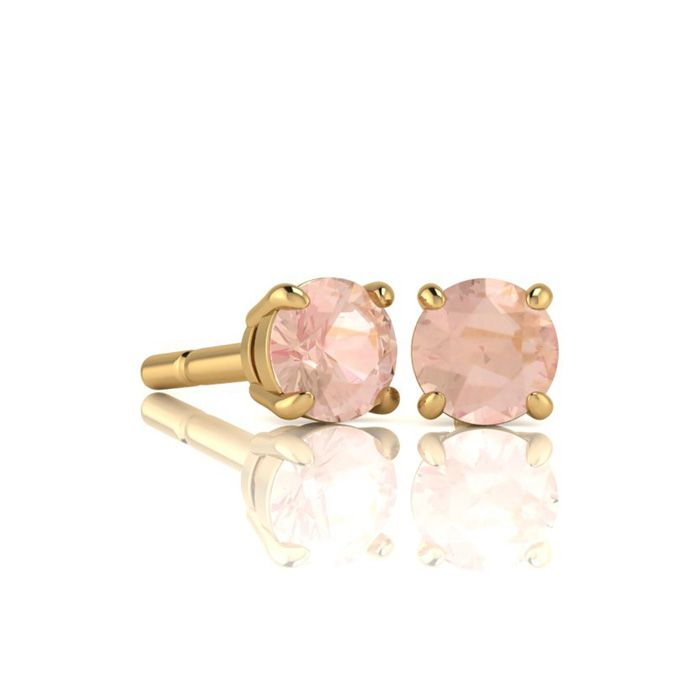 Image of 1/2 Carat Round Shape Morganite Stud Earrings In 14K Yellow Gold Over Sterling Silver