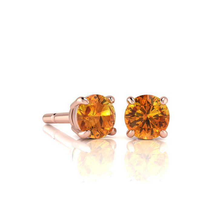 Image of 1/2 Carat Round Shape Citrine Stud Earrings In 14K Rose Gold Over Sterling Silver