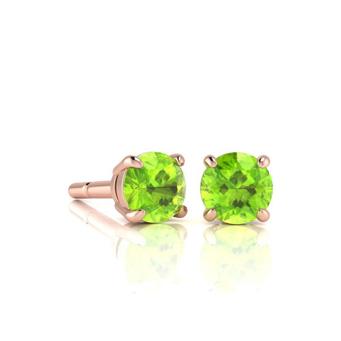 Image of 3/4 Carat Round Shape Peridot Stud Earrings In 14K Rose Gold Over Sterling Silver