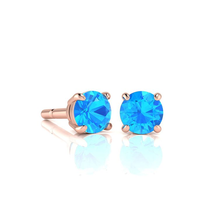 Image of 1 Carat Round Shape Blue Topaz Stud Earrings In 14K Rose Gold Over Sterling Silver