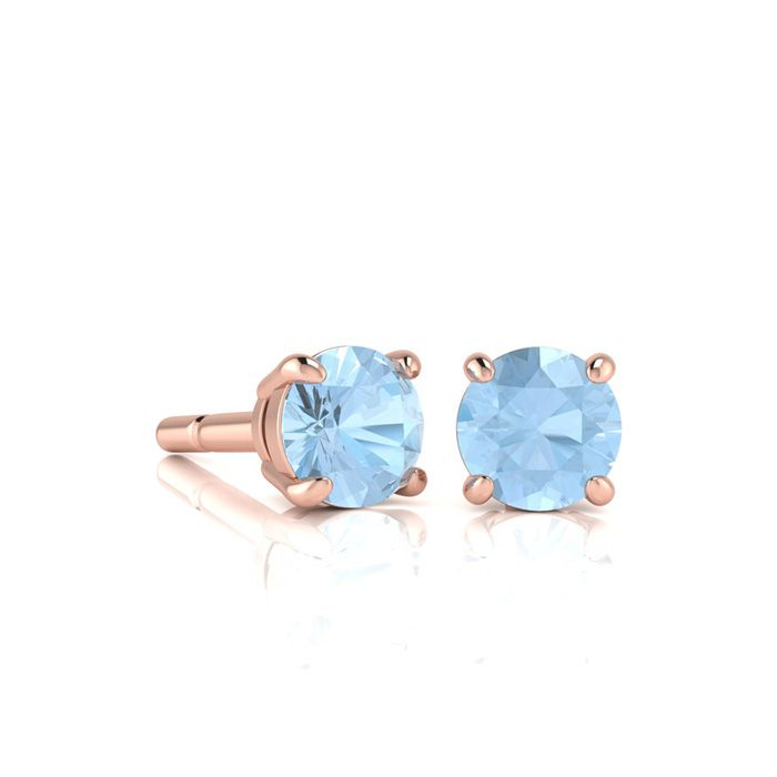 Image of 1/2 Carat Round Shape Aquamarine Stud Earrings In 14K Rose Gold Over Sterling Silver