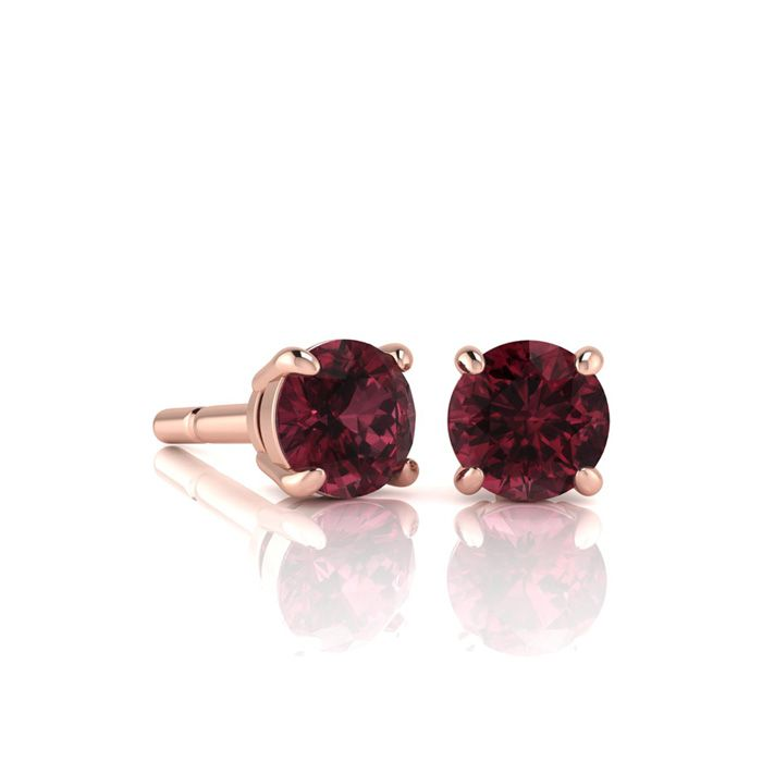 Image of 3/4 Carat Round Shape Garnet Stud Earrings In 14K Rose Gold Over Sterling Silver