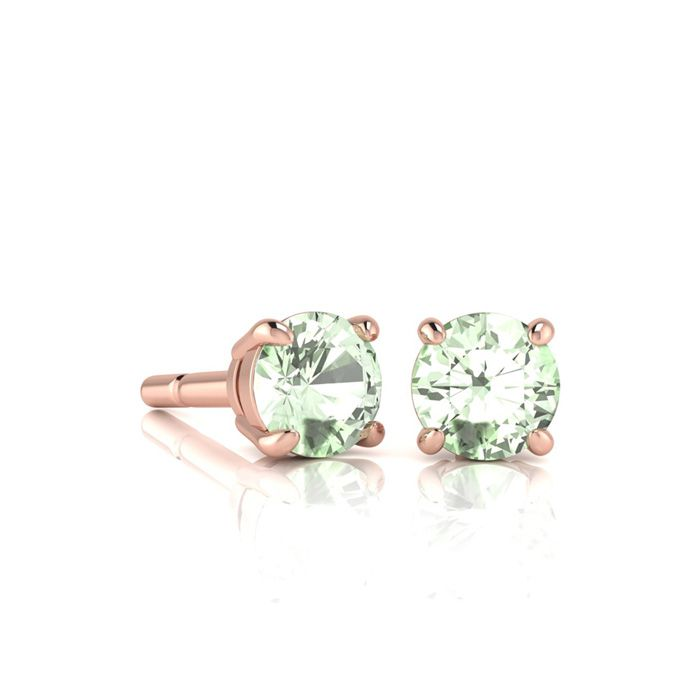 Image of 1/2 Carat Round Shape Green Amethyst Stud Earrings In 14K Rose Gold Over Sterling Silver