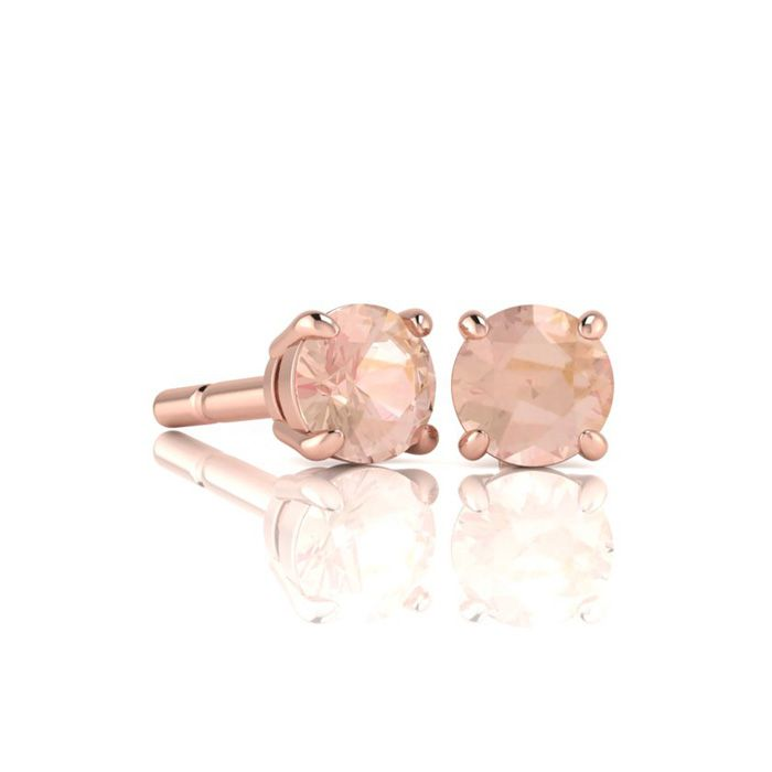 Image of 1/2 Carat Round Shape Morganite Stud Earrings In 14K Rose Gold Over Sterling Silver