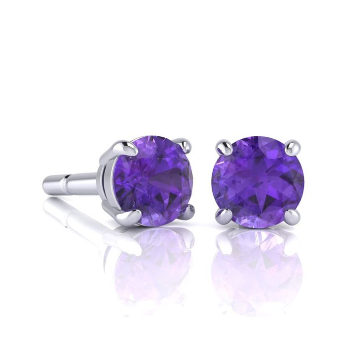 Image of 1 Carat Round Shape Amethyst Stud Earrings In Sterling Silver