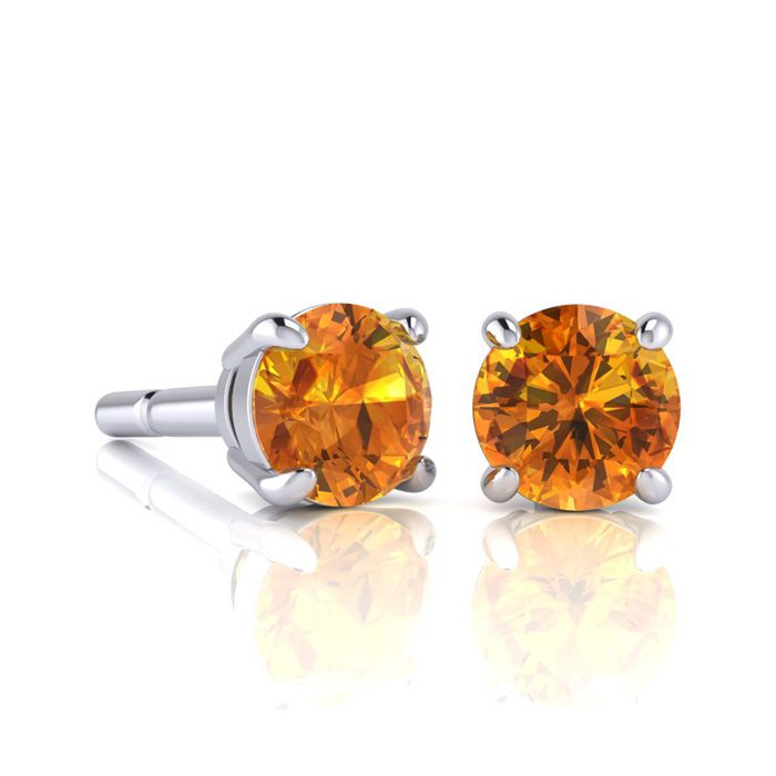 Image of 1 Carat Round Shape Citrine Stud Earrings In Sterling Silver
