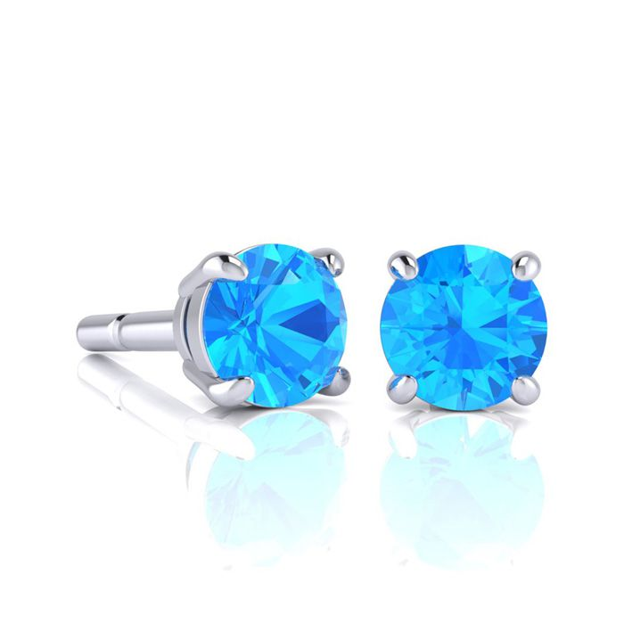 Image of 1 3/4 Carat Round Shape Blue Topaz Stud Earrings In Sterling Silver