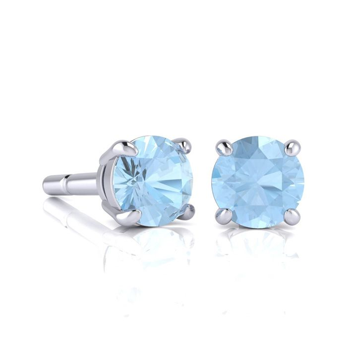 Image of 1 Carat Round Shape Aquamarine Stud Earrings In Sterling Silver