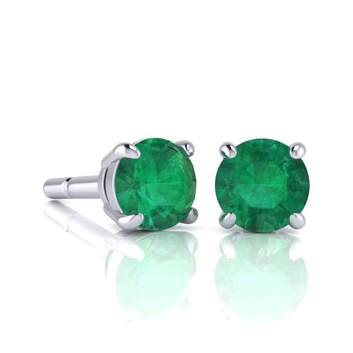1 Carat Round Shape Emerald Stud Earrings In Sterling Silver