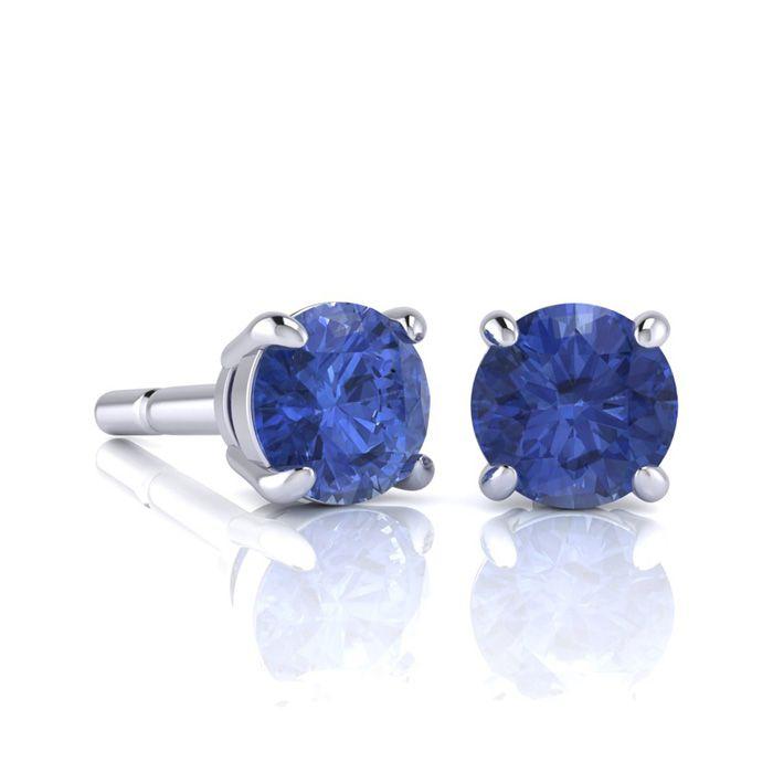 1 Carat Round Shape Tanzanite Stud Earrings In Sterling Silver