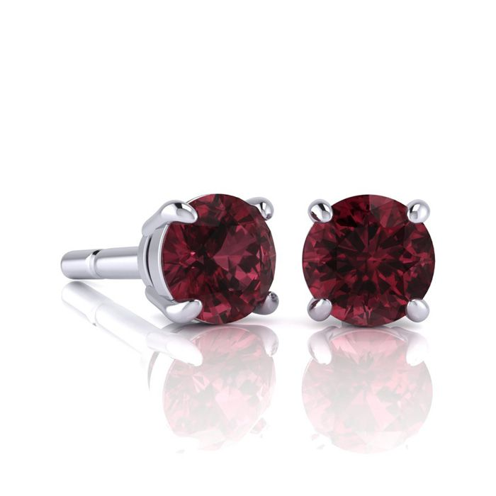 Image of 1 1/2 Carat Round Shape Garnet Stud Earrings In Sterling Silver
