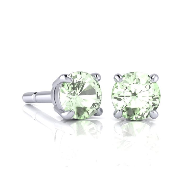 Image of 1 Carat Round Shape Green Amethyst Stud Earrings In Sterling Silver