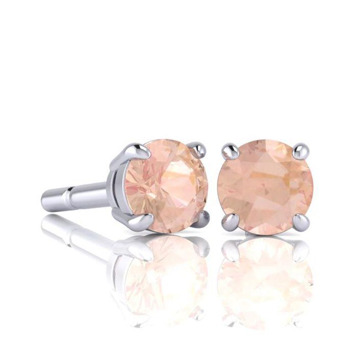 1 Carat Round Shape Morganite Stud Earrings