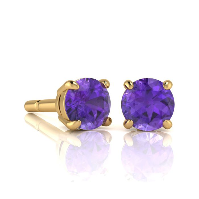 Image of 1 Carat Round Shape Amethyst Stud Earrings In 14K Yellow Gold Over Sterling Silver