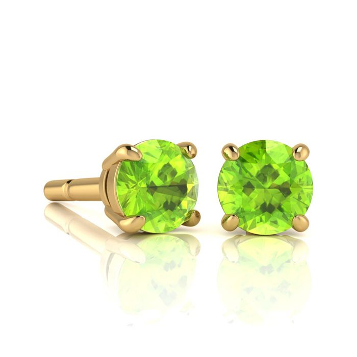 Image of 1 1/3 Carat Round Shape Peridot Stud Earrings In 14K Yellow Gold Over Sterling Silver