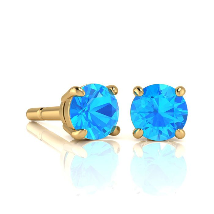 Image of 1 3/4 Carat Round Shape Blue Topaz Stud Earrings In 14K Yellow Gold Over Sterling Silver