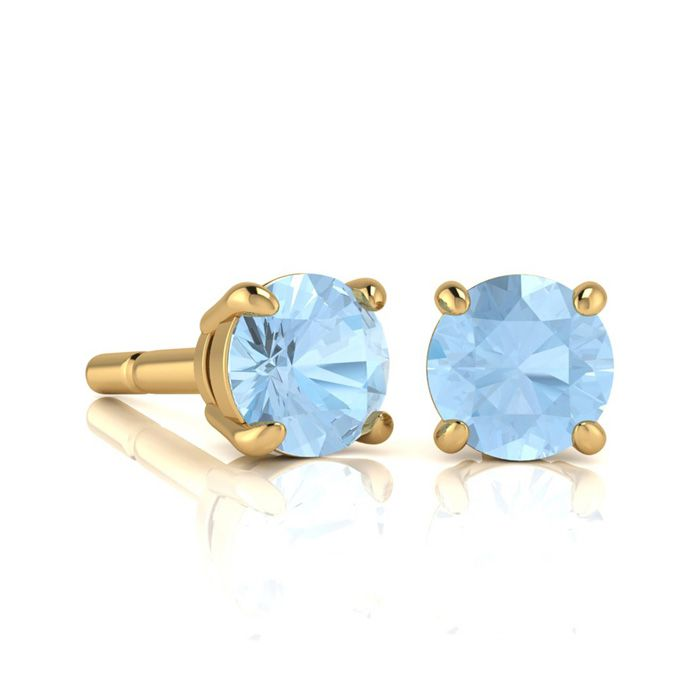 Image of 1 Carat Round Shape Aquamarine Stud Earrings In 14K Yellow Gold Over Sterling Silver