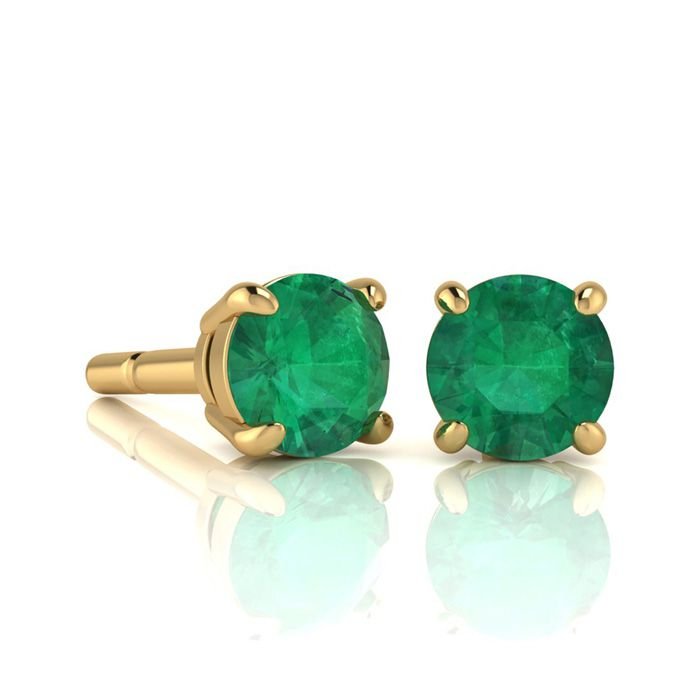 1 Carat Round Shape Emerald Stud Earrings In 14K Yellow Gold Over Sterling S..