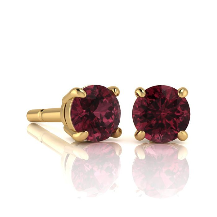 Image of 1 1/2 Carat Round Shape Garnet Stud Earrings In 14K Yellow Gold Over Sterling Silver