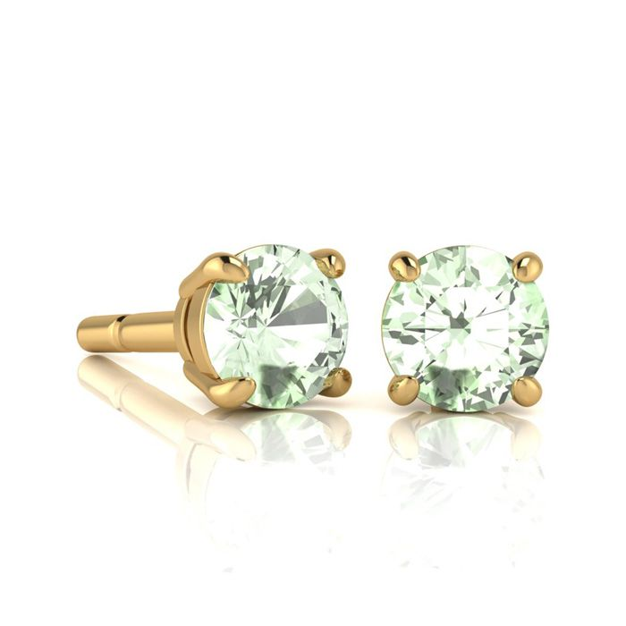 Image of 1 Carat Round Shape Green Amethyst Stud Earrings In 14K Yellow Gold Over Sterling Silver