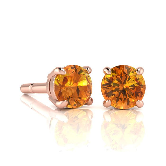 Image of 1 Carat Round Shape Citrine Stud Earrings In 14K Rose Gold Over Sterling Silver