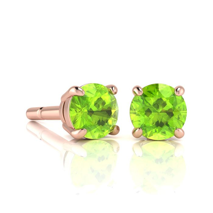 Image of 1 1/3 Carat Round Shape Peridot Stud Earrings In 14K Rose Gold Over Sterling Silver