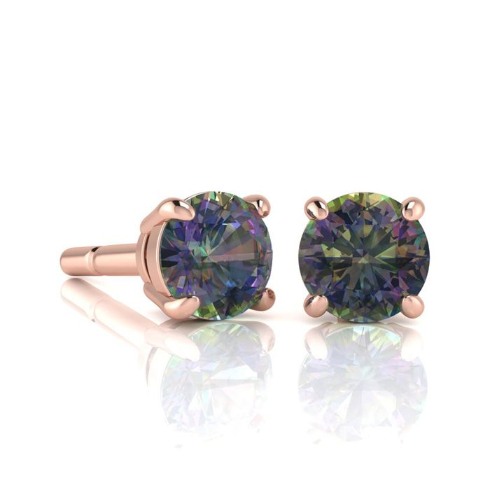 Image of 1 3/4 Carat Round Shape Mystic Topaz Stud Earrings In 14K Rose Gold Over Sterling Silver