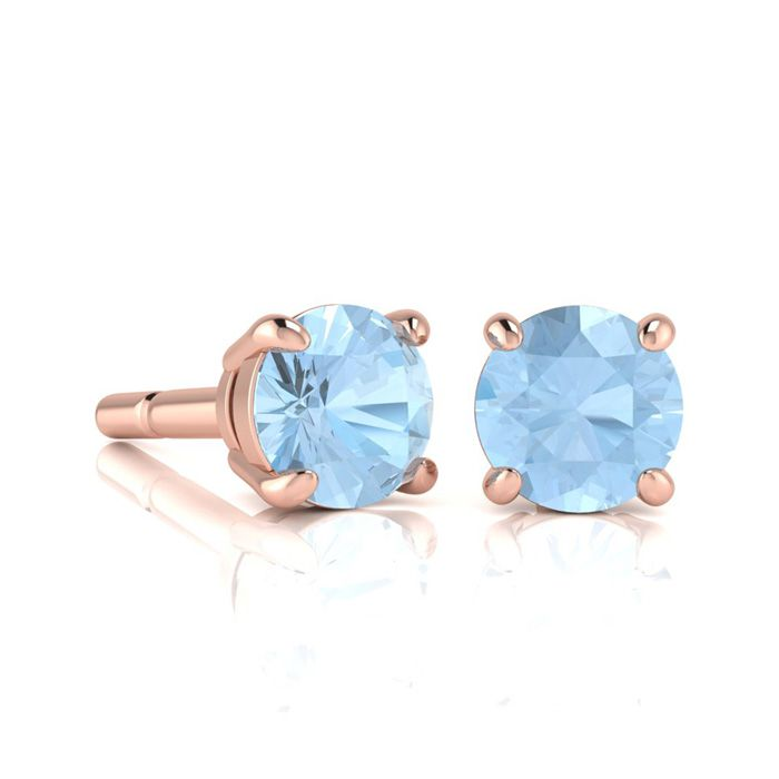 Image of 1 Carat Round Shape Aquamarine Stud Earrings In 14K Rose Gold Over Sterling Silver