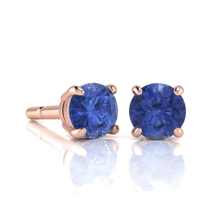 Image of 1 Carat Round Shape Tanzanite Stud Earrings In 14K Rose Gold Over Sterling Silver
