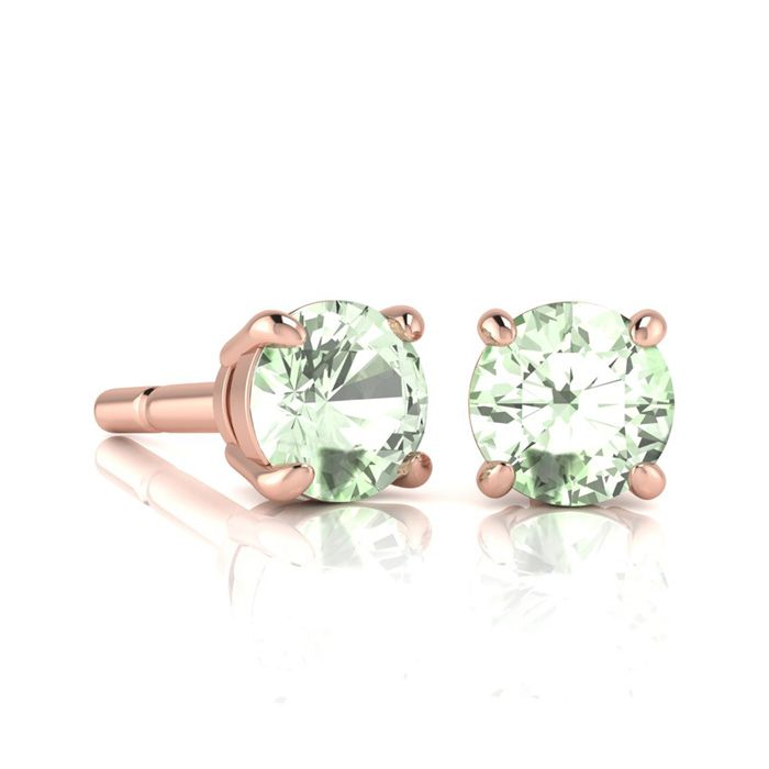 Image of 1 Carat Round Shape Green Amethyst Stud Earrings In 14K Rose Gold Over Sterling Silver