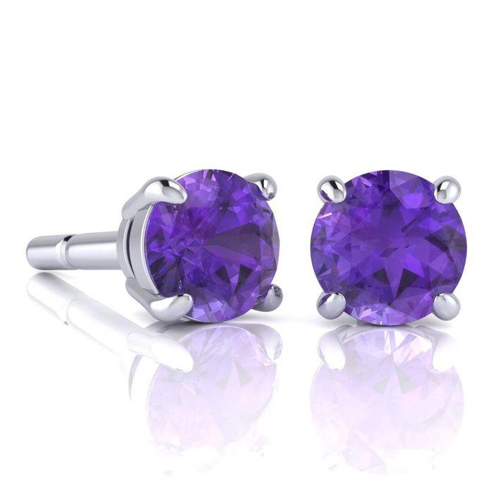 2 Carat Round Shape Amethyst Stud Earrings In Sterling Silver