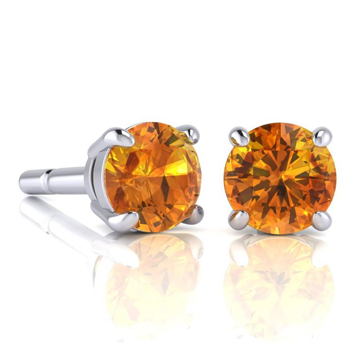 Image of 2 Carat Round Shape Citrine Stud Earrings In Sterling Silver