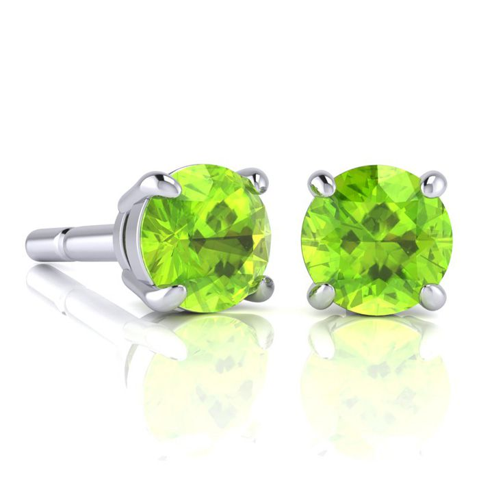 Image of 2 1/4 Carat Round Shape Peridot Stud Earrings In Sterling Silver