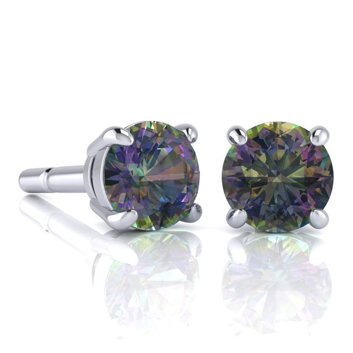 Image of 2 3/4 Carat Round Shape Mystic Topaz Stud Earrings In Sterling Silver