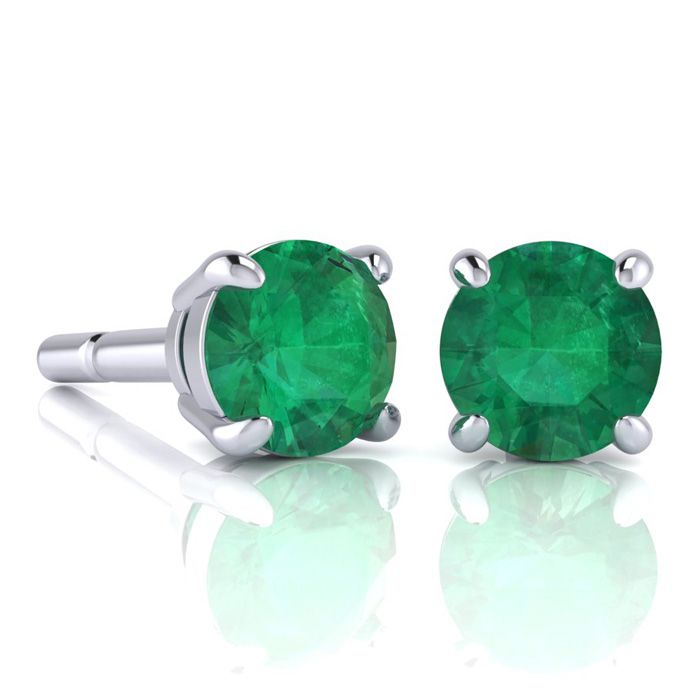 2 Carat Round Shape Emerald Stud Earrings In Sterling Silver
