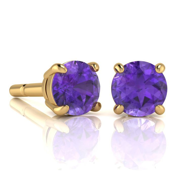Image of 2 Carat Round Shape Amethyst Stud Earrings In 14K Yellow Gold Over Sterling Silver