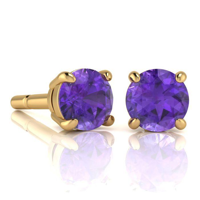 2 Carat Round Shape Amethyst Stud Earrings