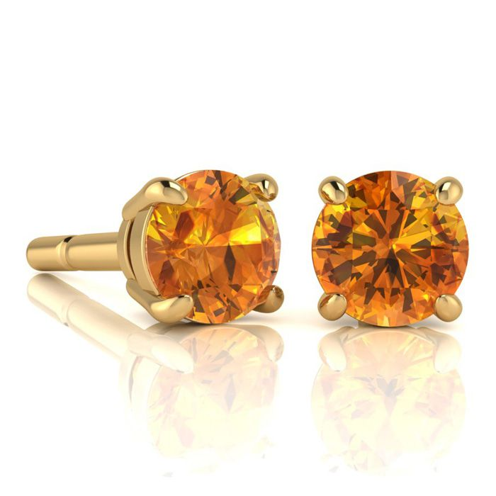 Image of 2 Carat Round Shape Citrine Stud Earrings In 14K Yellow Gold Over Sterling Silver
