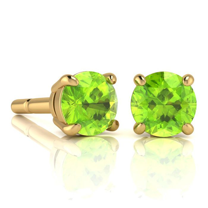 Image of 2 1/4 Carat Round Shape Peridot Stud Earrings In 14K Yellow Gold Over Sterling Silver