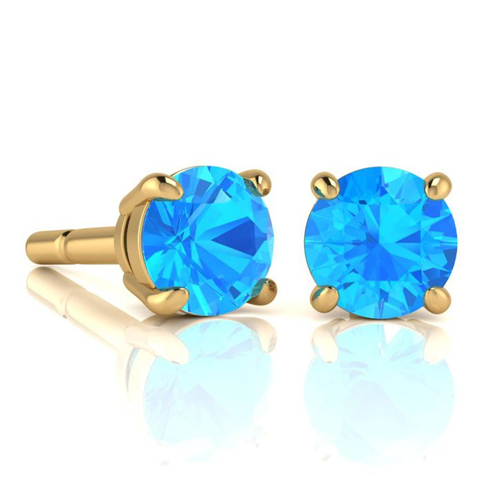 Image of 2 3/4 Carat Round Shape Blue Topaz Stud Earrings In 14K Yellow Gold Over Sterling Silver