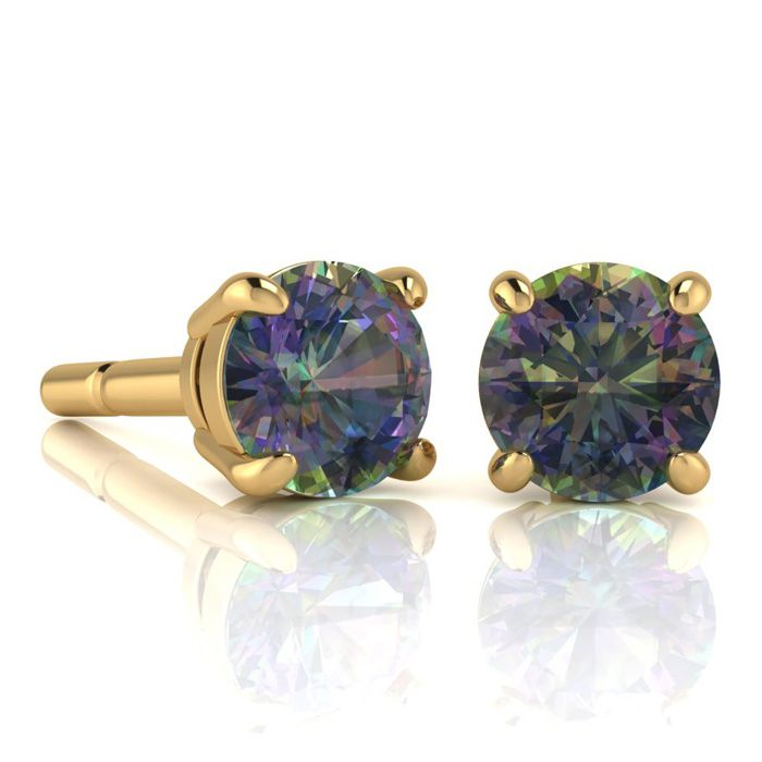 Image of 2 3/4 Carat Round Shape Mystic Topaz Stud Earrings In 14K Yellow Gold Over Sterling Silver