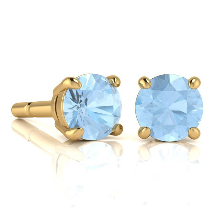 1 3/4 Carat Round Shape Aquamarine Stud Earrings In 14K Yellow Gold Over Ste..