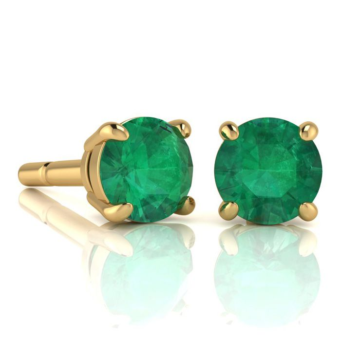 2 Carat Round Shape Emerald Stud Earrings In 14K Yellow Gold Over Sterling S..